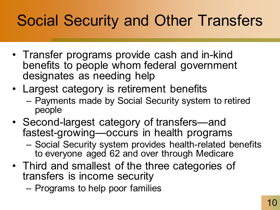 10 Social Security and Other Transfers Transfer programs provide cash and in-kind benefits to people whom federal government designates as needing hel