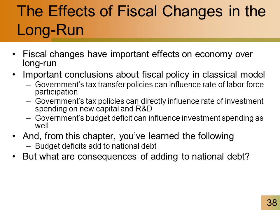 38 The Effects of Fiscal Changes in the Long-Run Fiscal changes have important effects on economy over long-run Important conclusions about fiscal policy in classical model –Government's tax transfer policies can influence rate of labor force participation –Government's tax policies can directly influence rate of investment spending on new capital and R&D –Government's budget deficit can influence investment spending as well And, from this chapter, you've learned the following –Budget deficits add to national debt But what are consequences of adding to national debt