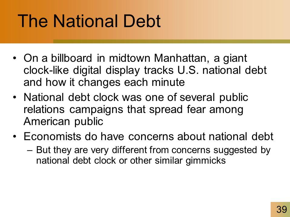 39 The National Debt On a billboard in midtown Manhattan, a giant clock-like digital display tracks U.S.