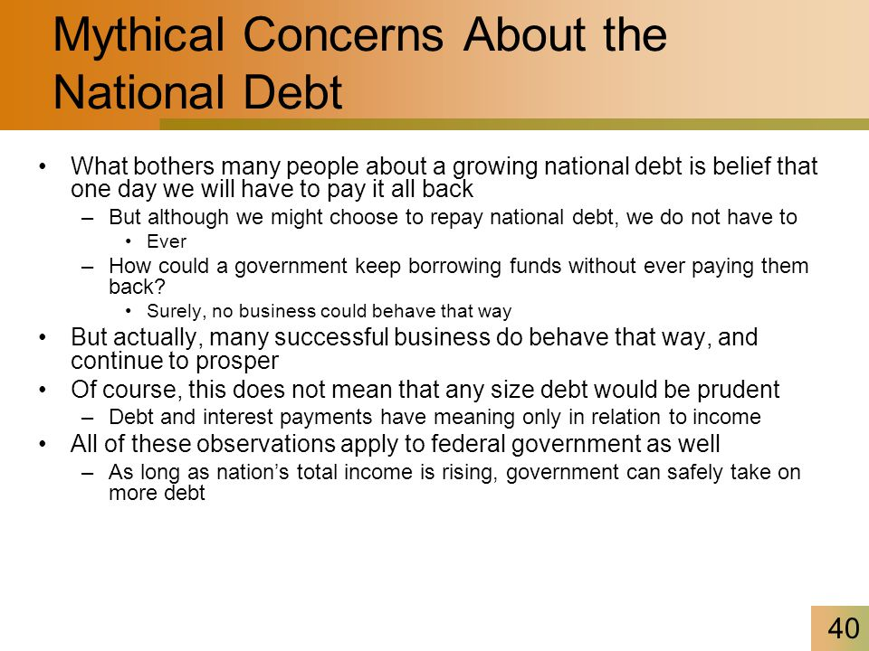 41 Mythical Concerns About the National Debt Federal government could pay back national debt –By running budget surpluses for many years How large could annual deficits be without making national debt a looming danger.