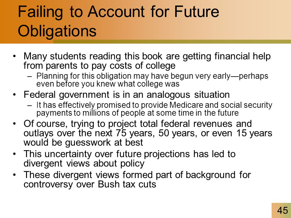 45 Failing to Account for Future Obligations Many students reading this book are getting financial help from parents to pay costs of college –Planning