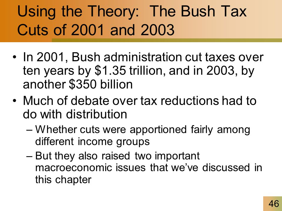 46 Using the Theory: The Bush Tax Cuts of 2001 and 2003 In 2001, Bush administration cut taxes over ten years by $1.35 trillion, and in 2003, by another $350 billion Much of debate over tax reductions had to do with distribution –Whether cuts were apportioned fairly among different income groups –But they also raised two important macroeconomic issues that we've discussed in this chapter