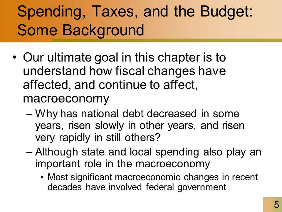5 Spending, Taxes, and the Budget: Some Background Our ultimate goal in this chapter is to understand how fiscal changes have affected, and continue t