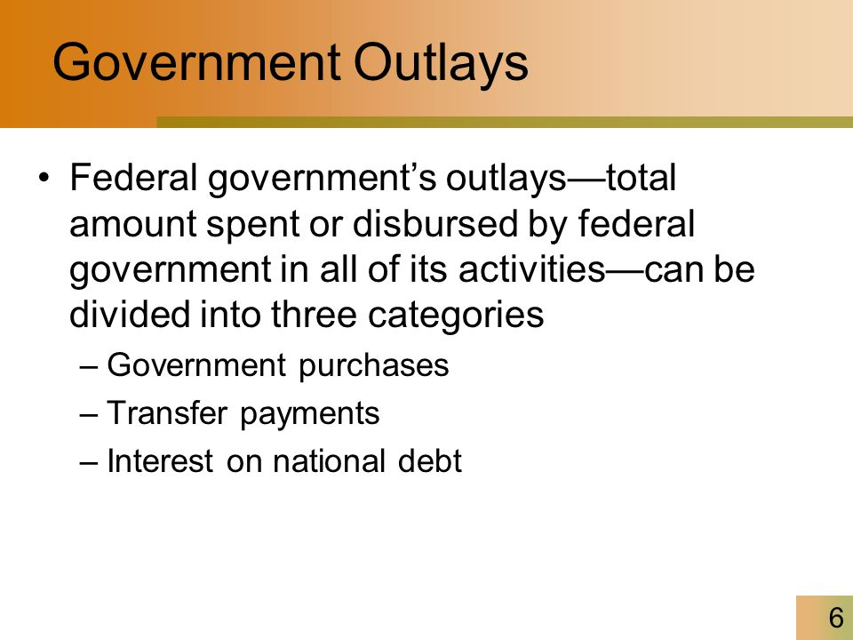 6 Government Outlays Federal government's outlays—total amount spent or disbursed by federal government in all of its activities—can be divided into three categories –Government purchases –Transfer payments –Interest on national debt