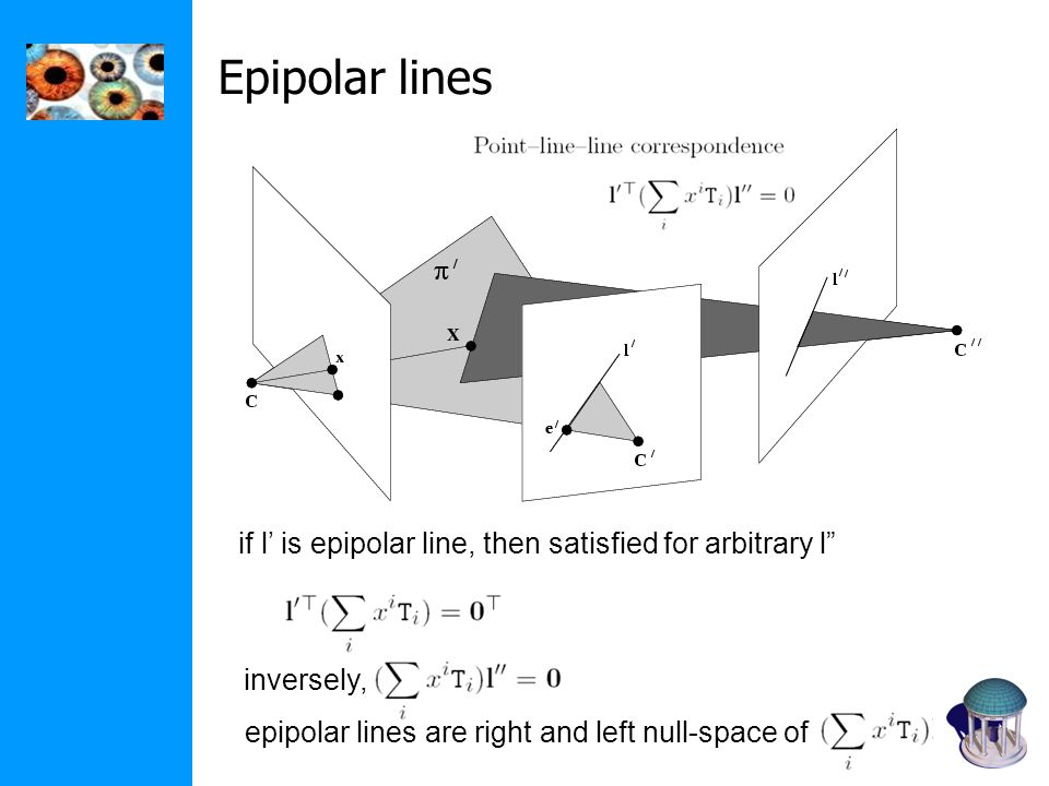 Epipolar lines if l' is epipolar line, then satisfied for arbitrary l inversely, epipolar lines are right and left null-space of