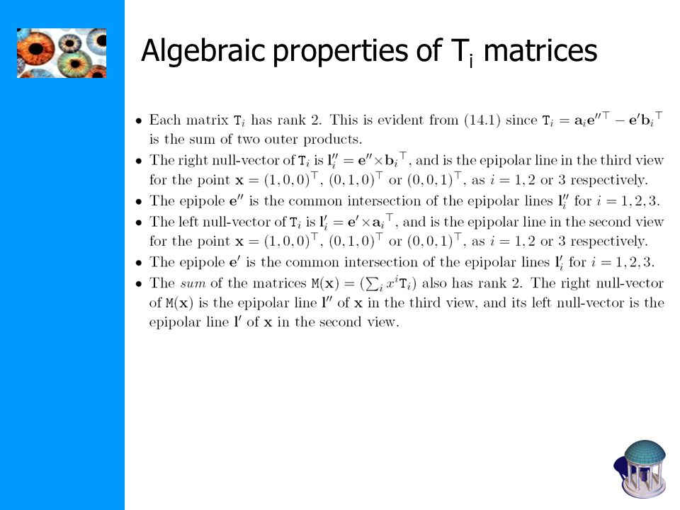 Algebraic properties of T i matrices