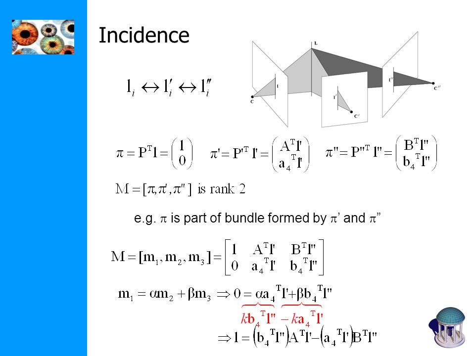 Incidence e.g.  is part of bundle formed by  ' and 