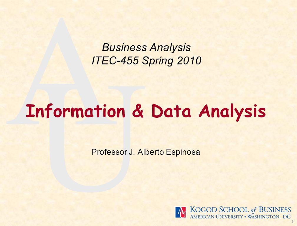 1 A U Information & Data Analysis Professor J. Alberto Espinosa Business Analysis ITEC-455 Spring 2010