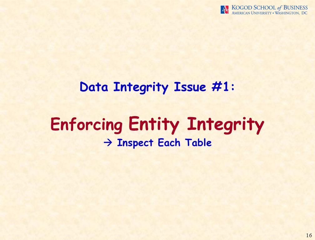 16 Data Integrity Issue #1: Enforcing Entity Integrity  Inspect Each Table