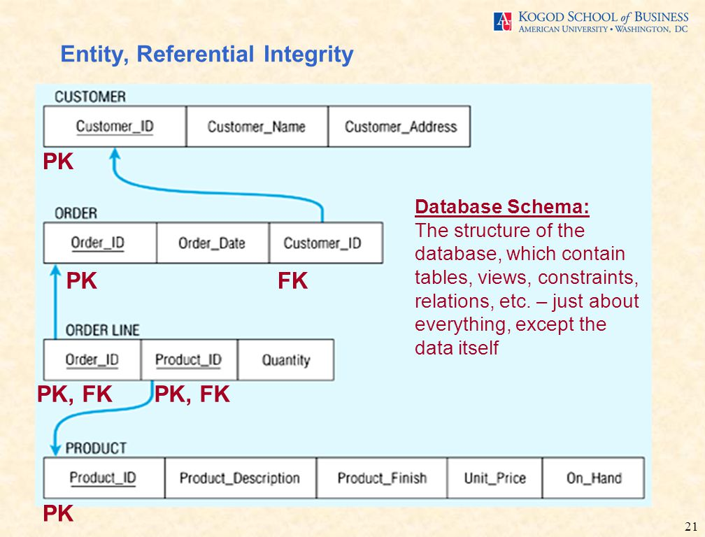 21 Entity, Referential Integrity PK FKPK PK, FK Database Schema: The structure of the database, which contain tables, views, constraints, relations, etc.