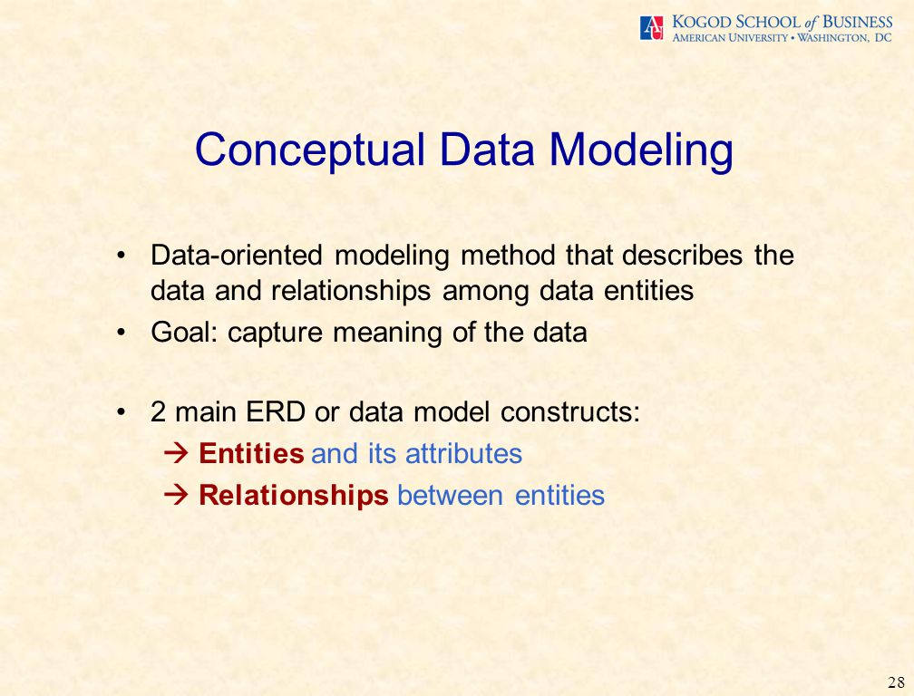 28 Conceptual Data Modeling Data-oriented modeling method that describes the data and relationships among data entities Goal: capture meaning of the data 2 main ERD or data model constructs:  Entities and its attributes  Relationships between entities