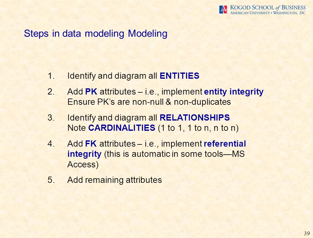 39 Steps in data modeling Modeling 1.Identify and diagram all ENTITIES 2.Add PK attributes – i.e., implement entity integrity Ensure PK's are non-null & non-duplicates 3.Identify and diagram all RELATIONSHIPS Note CARDINALITIES (1 to 1, 1 to n, n to n) 4.Add FK attributes – i.e., implement referential integrity (this is automatic in some tools—MS Access) 5.Add remaining attributes