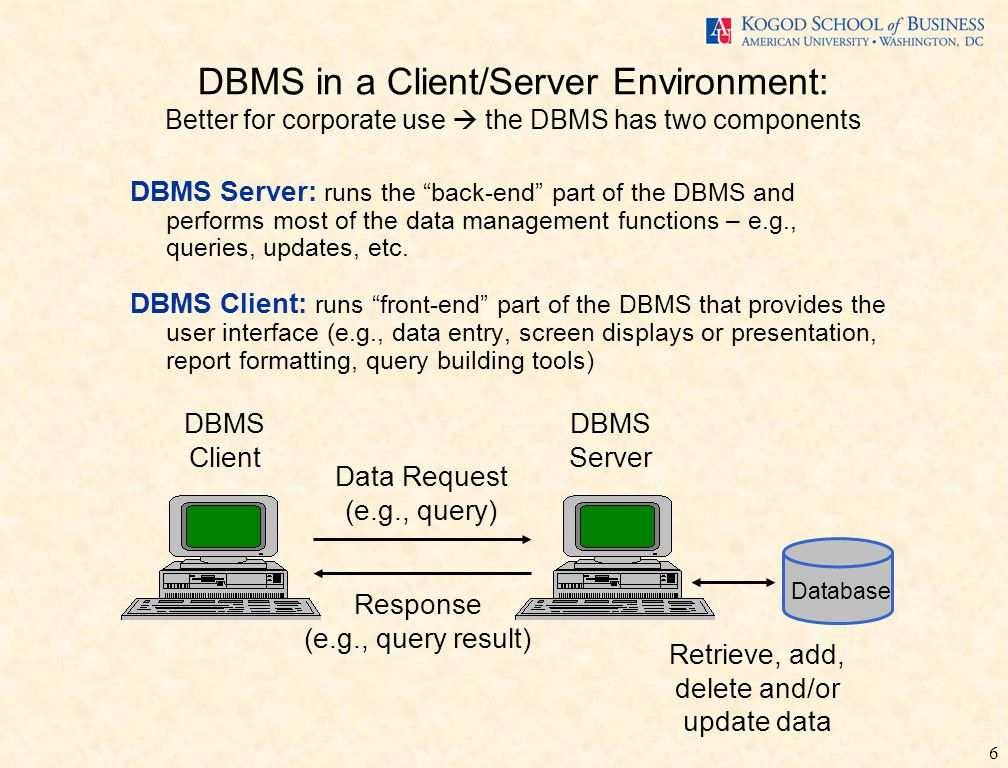6 DBMS Server: runs the back-end part of the DBMS and performs most of the data management functions – e.g., queries, updates, etc.