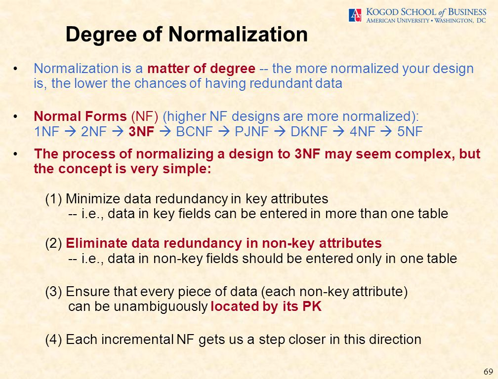 69 Degree of Normalization Normalization is a matter of degree -- the more normalized your design is, the lower the chances of having redundant data Normal Forms (NF) (higher NF designs are more normalized): 1NF  2NF  3NF  BCNF  PJNF  DKNF  4NF  5NF The process of normalizing a design to 3NF may seem complex, but the concept is very simple: (1) Minimize data redundancy in key attributes -- i.e., data in key fields can be entered in more than one table (2) Eliminate data redundancy in non-key attributes -- i.e., data in non-key fields should be entered only in one table (3) Ensure that every piece of data (each non-key attribute) can be unambiguously located by its PK (4) Each incremental NF gets us a step closer in this direction