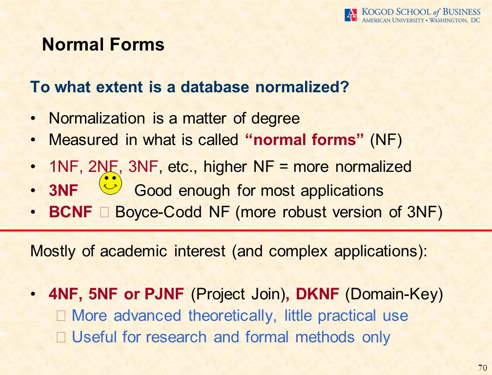 70 To what extent is a database normalized.