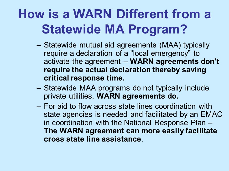 How is a WARN Different from a Statewide MA Program.