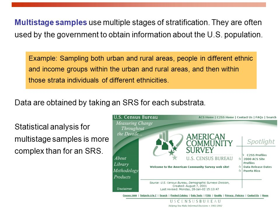 Multistage samples use multiple stages of stratification.