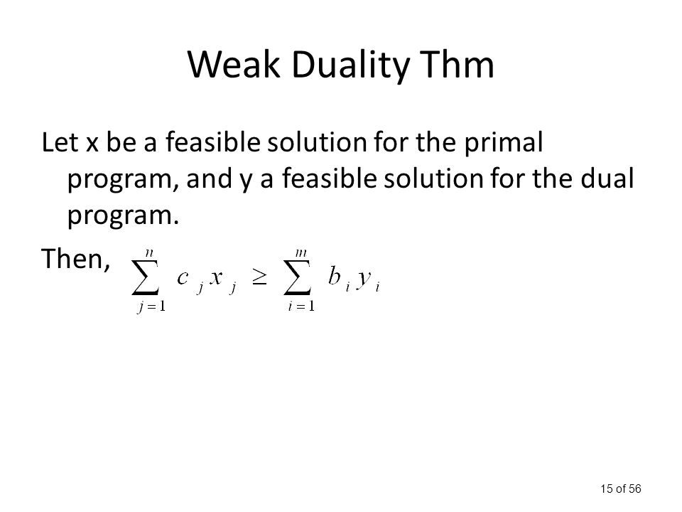 15 of 56 Weak Duality Thm Let x be a feasible solution for the primal program, and y a feasible solution for the dual program.