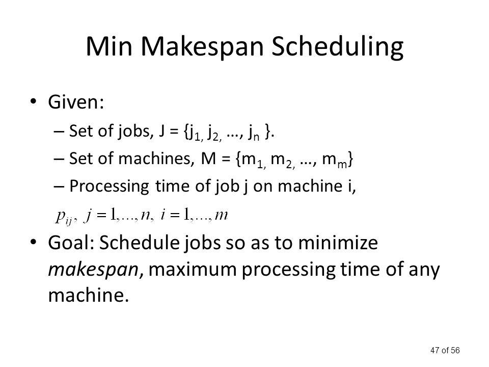 47 of 56 Min Makespan Scheduling Given: – Set of jobs, J = {j 1, j 2, …, j n }.