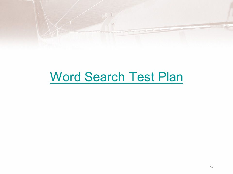 Word Search Test Plan 52