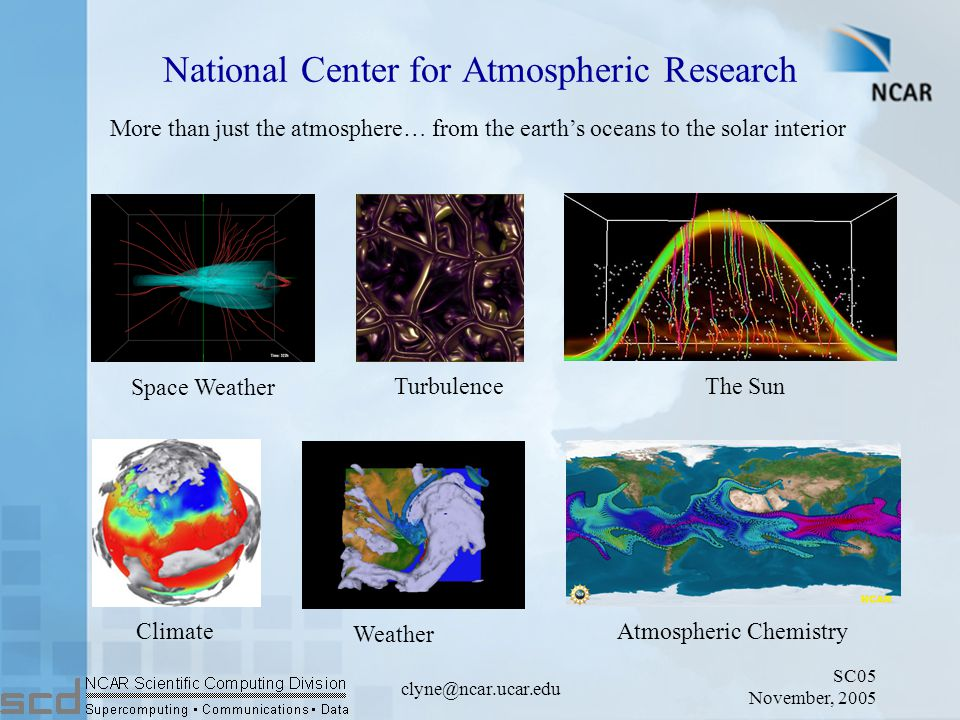 SC05 November, 2005 clyne@ncar.ucar.edu National Center for Atmospheric Research Space Weather Turbulence Atmospheric Chemistry Climate Weather The Sun More than just the atmosphere… from the earth's oceans to the solar interior