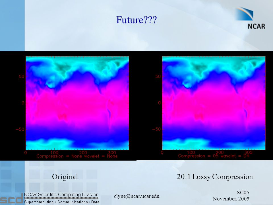 SC05 November, 2005 clyne@ncar.ucar.edu Future Original20:1 Lossy Compression