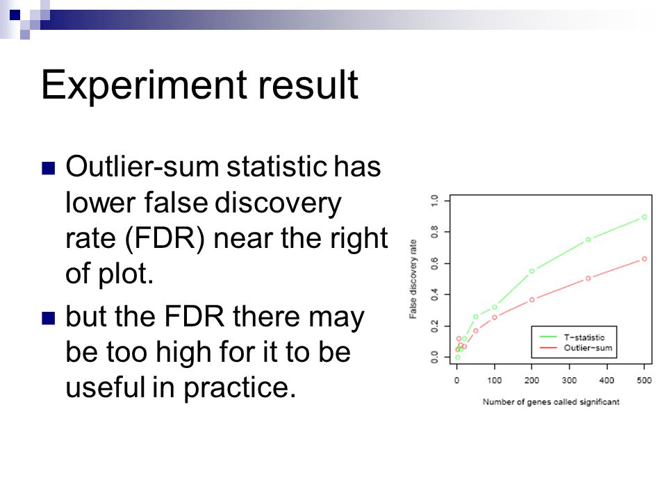 Experiment result Outlier-sum statistic has lower false discovery rate (FDR) near the right of plot. but the FDR there may be too high for it to be us