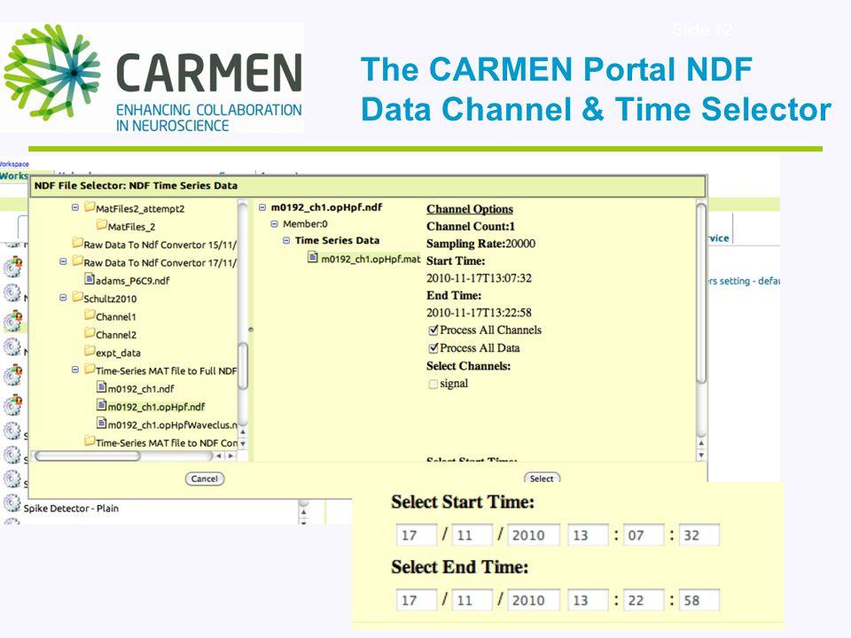 Slide 12 The CARMEN Portal NDF Data Channel & Time Selector