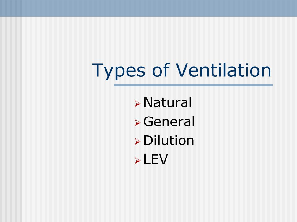 Types of Ventilation  Natural  General  Dilution  LEV