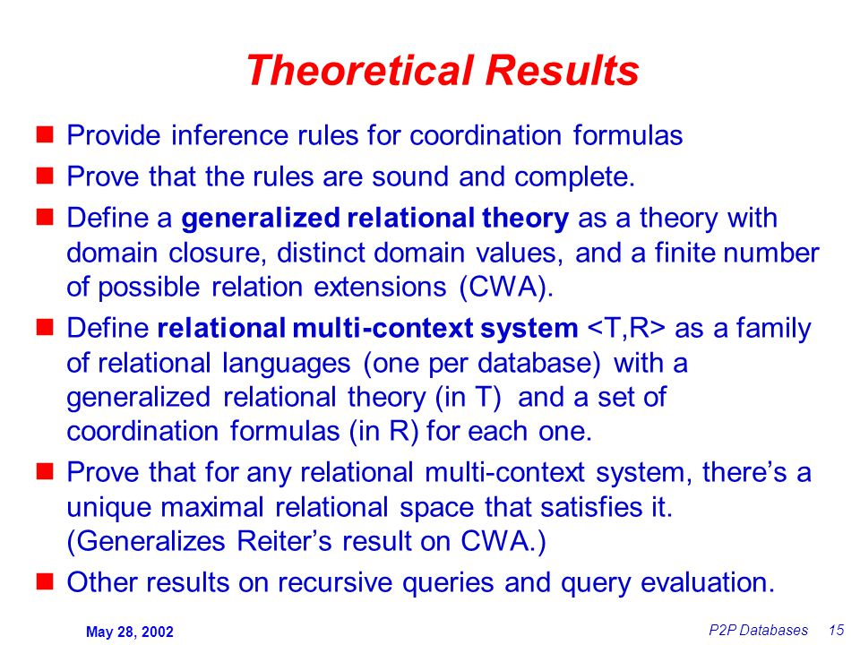 May 28, 2002 P2P Databases 15 Theoretical Results Provide inference rules for coordination formulas Prove that the rules are sound and complete.