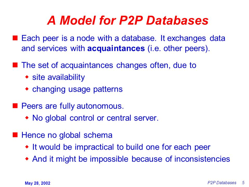 May 28, 2002 P2P Databases 5 A Model for P2P Databases Each peer is a node with a database.