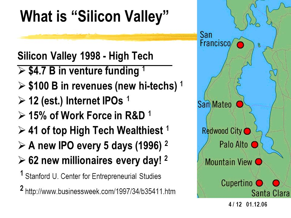 4 / 12 01.12.06 What is Silicon Valley Silicon Valley 1998 - High Tech  $4.7 B in venture funding 1  $100 B in revenues (new hi-techs) 1  12 (est.) Internet IPOs 1  15% of Work Force in R&D 1  41 of top High Tech Wealthiest 1  A new IPO every 5 days (1996) 2  62 new millionaires every day.