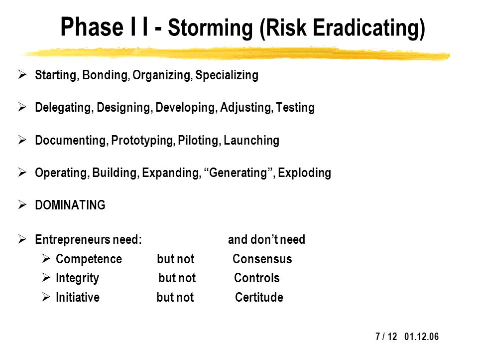 7 / 12 01.12.06 Phase I I - Storming (Risk Eradicating)  Starting, Bonding, Organizing, Specializing  Delegating, Designing, Developing, Adjusting, Testing  Documenting, Prototyping, Piloting, Launching  Operating, Building, Expanding, Generating , Exploding  DOMINATING  Entrepreneurs need: and don't need  Competence but not Consensus  Integrity but not Controls  Initiative but not Certitude