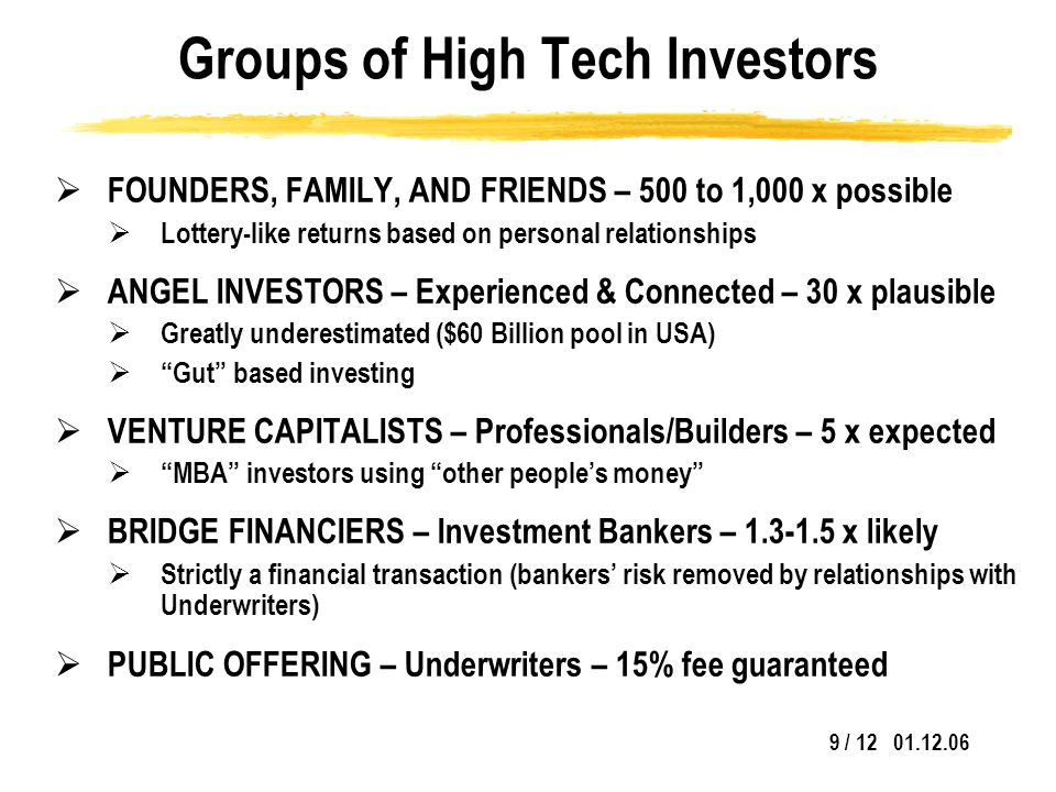 9 / 12 01.12.06 Groups of High Tech Investors  FOUNDERS, FAMILY, AND FRIENDS – 500 to 1,000 x possible  Lottery-like returns based on personal relationships  ANGEL INVESTORS – Experienced & Connected – 30 x plausible  Greatly underestimated ($60 Billion pool in USA)  Gut based investing  VENTURE CAPITALISTS – Professionals/Builders – 5 x expected  MBA investors using other people's money  BRIDGE FINANCIERS – Investment Bankers – 1.3-1.5 x likely  Strictly a financial transaction (bankers' risk removed by relationships with Underwriters)  PUBLIC OFFERING – Underwriters – 15% fee guaranteed
