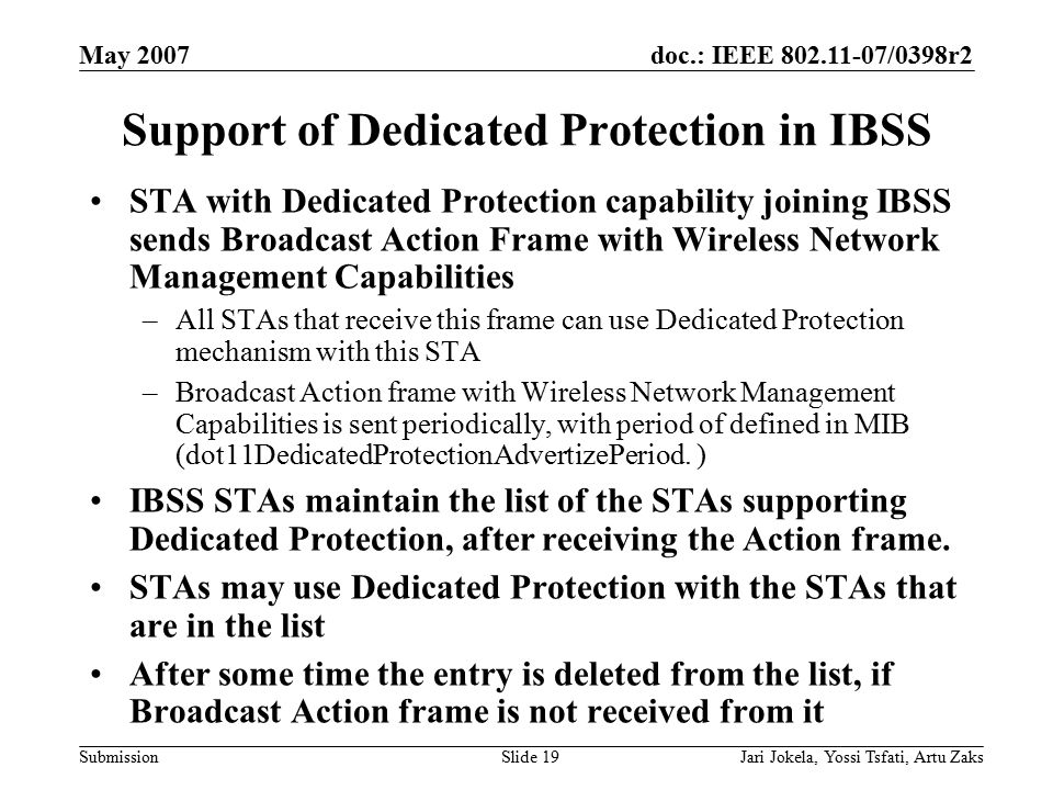 doc.: IEEE 802.11-07/0398r2 Submission May 2007 Jari Jokela, Yossi Tsfati, Artu ZaksSlide 19 Support of Dedicated Protection in IBSS STA with Dedicate