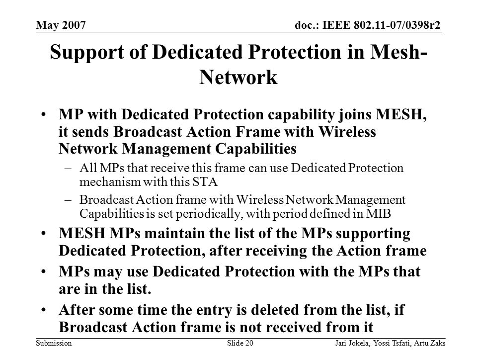 doc.: IEEE 802.11-07/0398r2 Submission May 2007 Jari Jokela, Yossi Tsfati, Artu ZaksSlide 20 Support of Dedicated Protection in Mesh- Network MP with