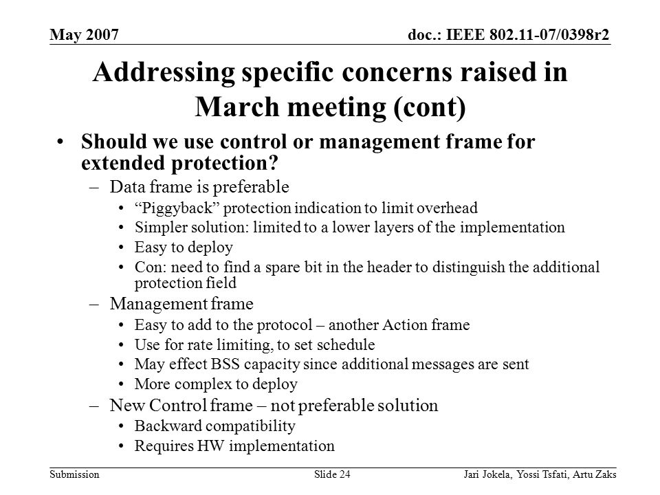 doc.: IEEE 802.11-07/0398r2 Submission May 2007 Jari Jokela, Yossi Tsfati, Artu ZaksSlide 24 Addressing specific concerns raised in March meeting (con