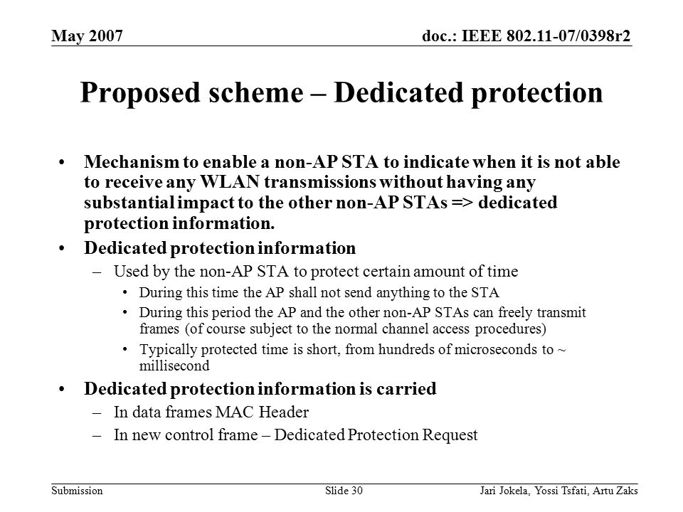 doc.: IEEE 802.11-07/0398r2 Submission May 2007 Jari Jokela, Yossi Tsfati, Artu ZaksSlide 30 Proposed scheme – Dedicated protection Mechanism to enabl