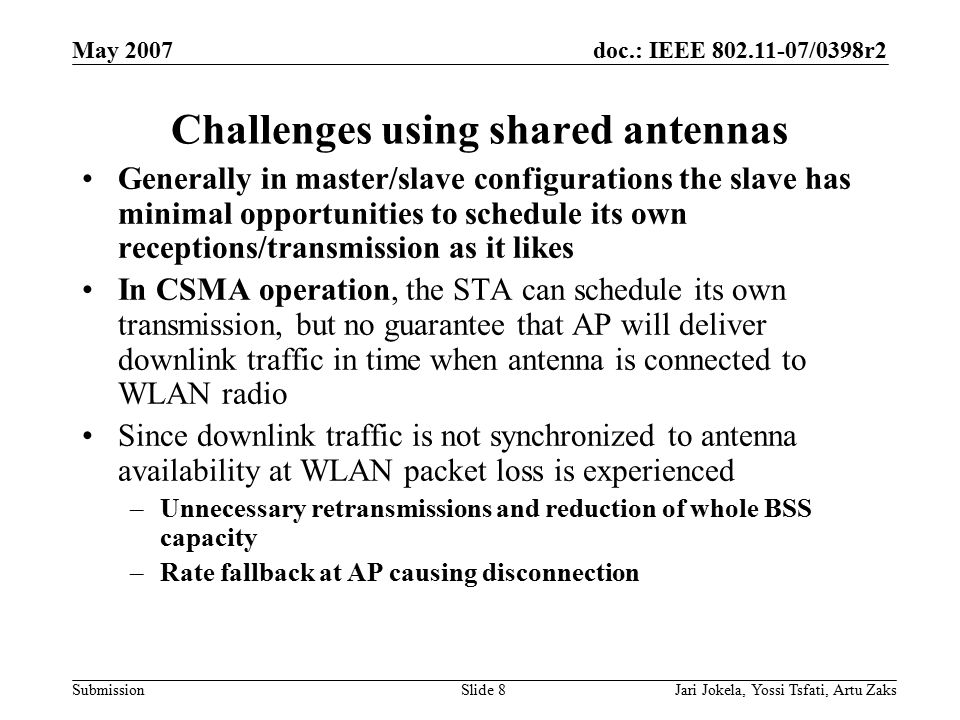 doc.: IEEE 802.11-07/0398r2 Submission May 2007 Jari Jokela, Yossi Tsfati, Artu ZaksSlide 8 Challenges using shared antennas Generally in master/slave