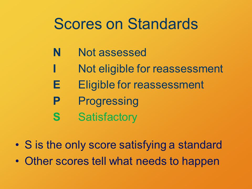 Scores on Standards NNot assessed INot eligible for reassessment EEligible for reassessment P Progressing SSatisfactory S is the only score satisfying a standard Other scores tell what needs to happen