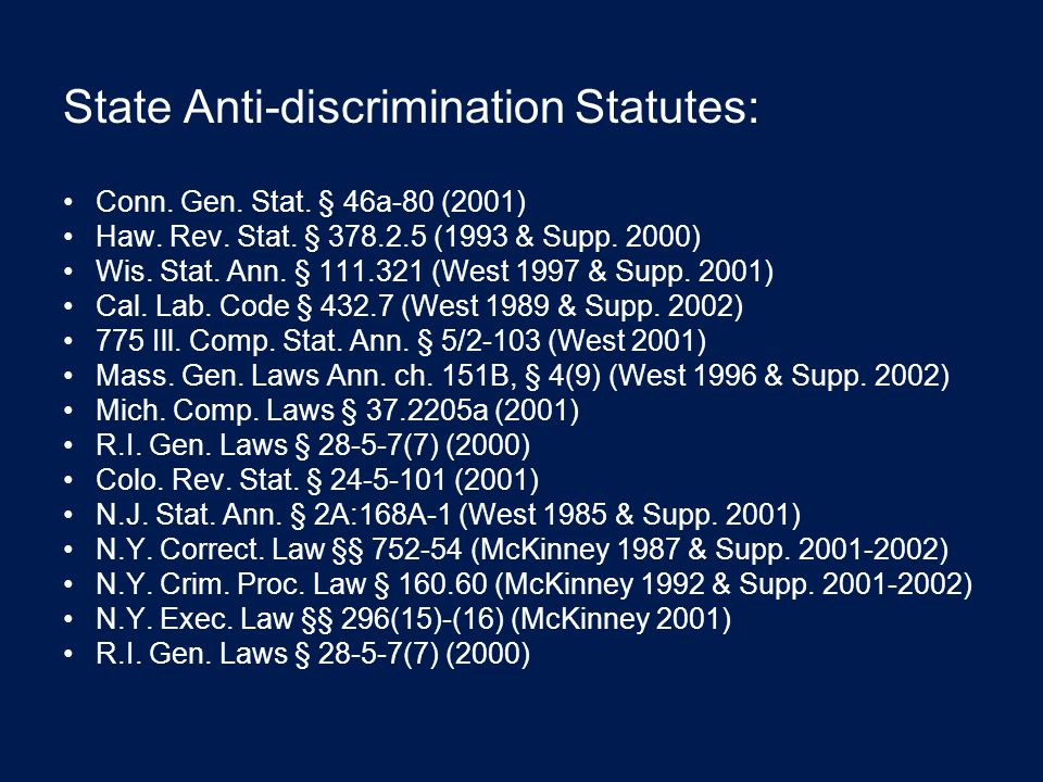 State Anti-discrimination Statutes: Conn. Gen. Stat.