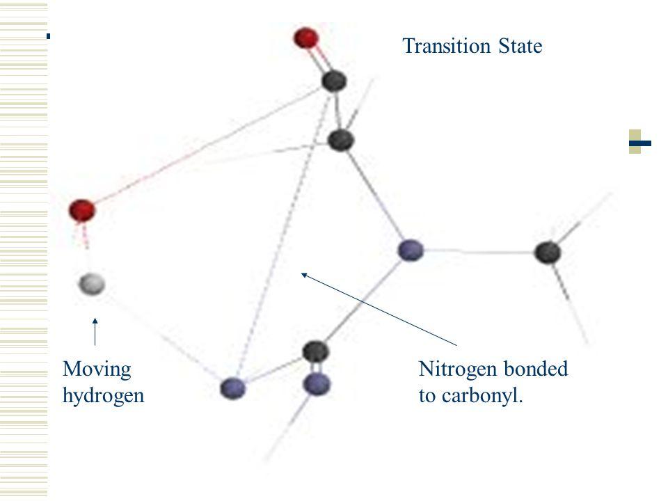 Transition State Moving hydrogen Nitrogen bonded to carbonyl.