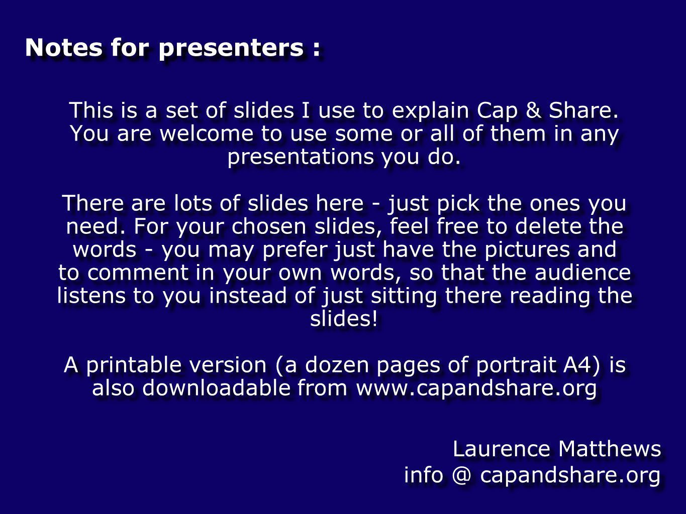 Cap & Share Chapter 2 - Who gains or loses? diagrams