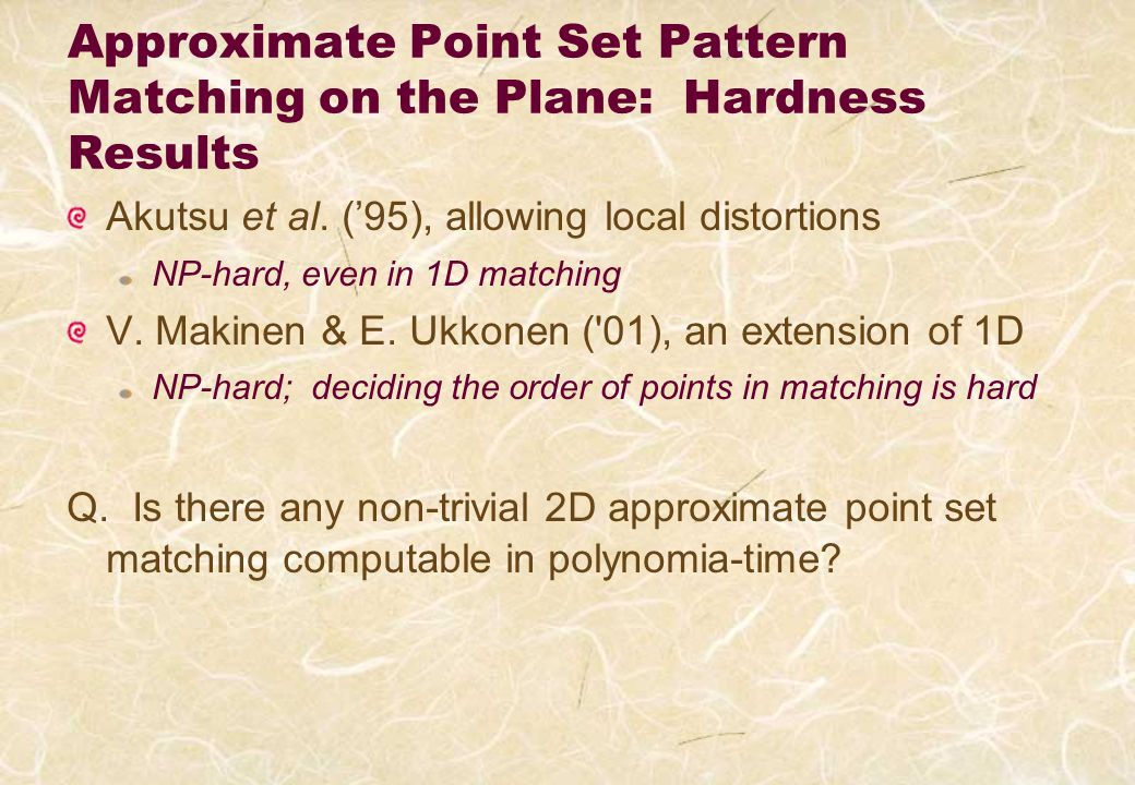 Approximate Point Set Pattern Matching on the Plane: Hardness Results Akutsu et al.