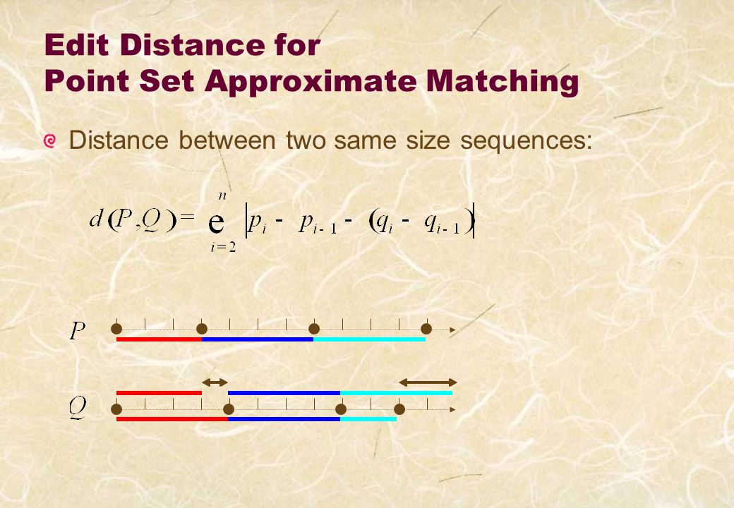 Polynomia-time Algorithm for 2D Approximate Point Set Matching Finds the best partition/direction by DP-like recursion Results are stored in cache for quadruples [I, j; k, l] … O(n 2 m 2 ) space O(n 2 m 4 ) time with pattern size n and text size m