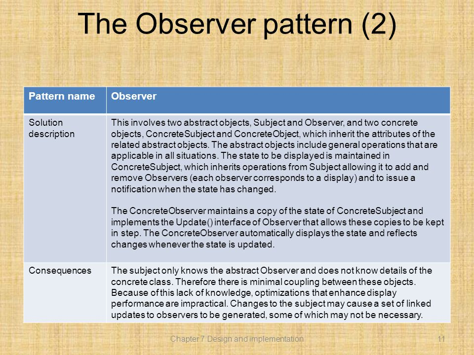 The Observer pattern (2) Pattern nameObserver Solution description This involves two abstract objects, Subject and Observer, and two concrete objects, ConcreteSubject and ConcreteObject, which inherit the attributes of the related abstract objects.