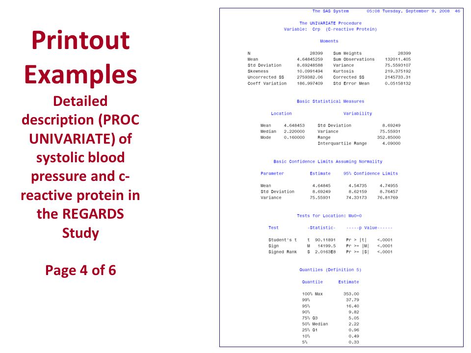Printout Examples Detailed description (PROC UNIVARIATE) of systolic blood pressure and c- reactive protein in the REGARDS Study Page 4 of 6