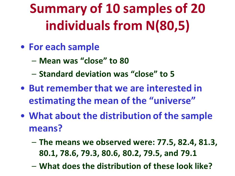 Summary of 10 samples of 20 individuals from N(80,5) For each sample –Mean was close to 80 –Standard deviation was close to 5 But remember that we are interested in estimating the mean of the universe What about the distribution of the sample means.