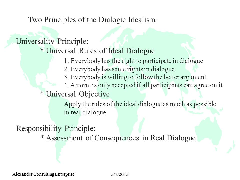 Alexander Consulting Enterprise 5/7/2015 Universality Principle: * Universal Rules of Ideal Dialogue 1.