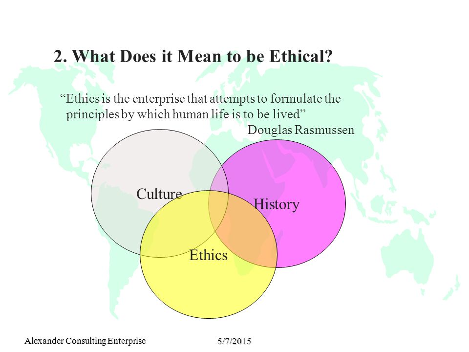 Alexander Consulting Enterprise 5/7/2015 2. What Does it Mean to be Ethical.